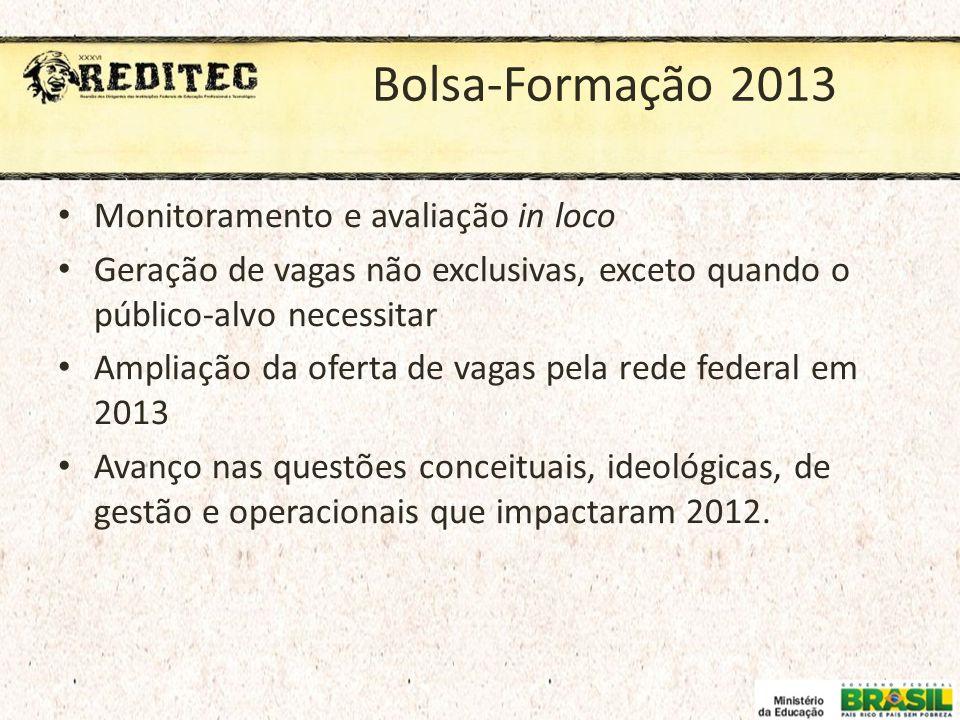 Bolsa-Formação 2013 Monitoramento e avaliação in loco
