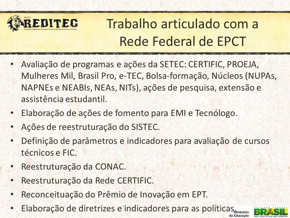Trabalho articulado com a Rede Federal de EPCT
