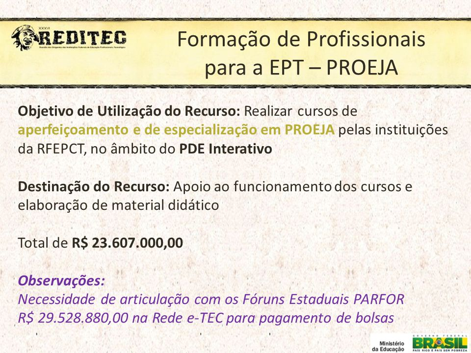 Formação de Profissionais para a EPT – PROEJA