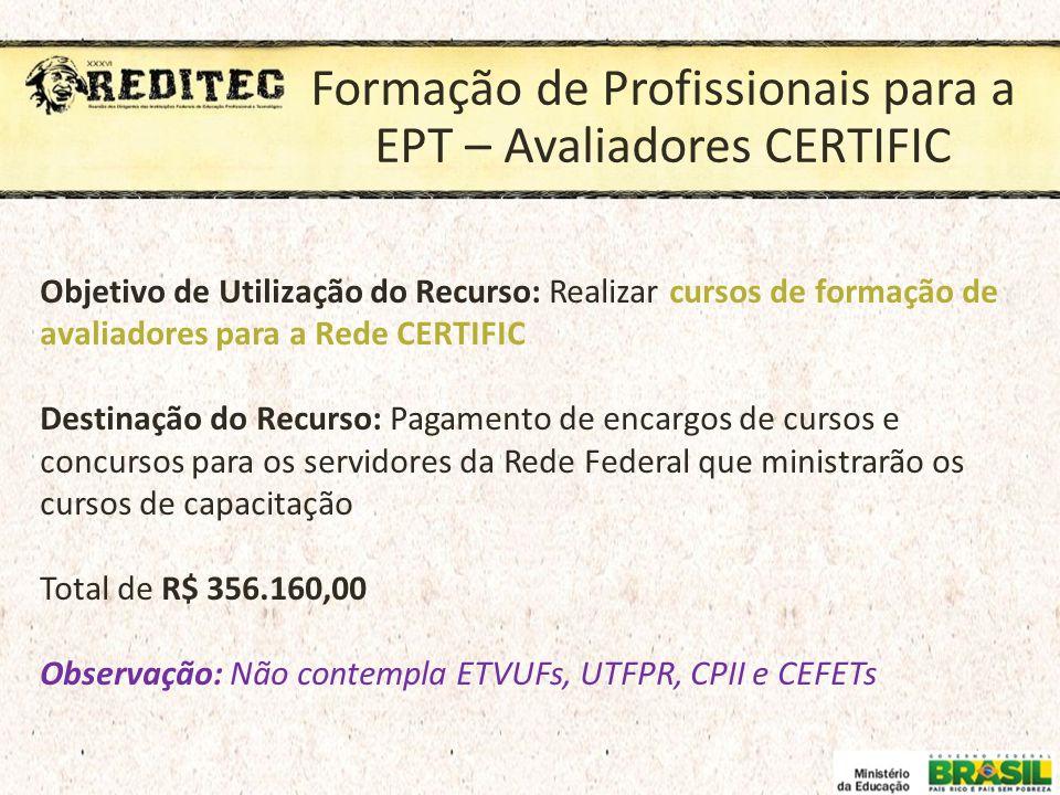 Formação de Profissionais para a EPT – Avaliadores CERTIFIC