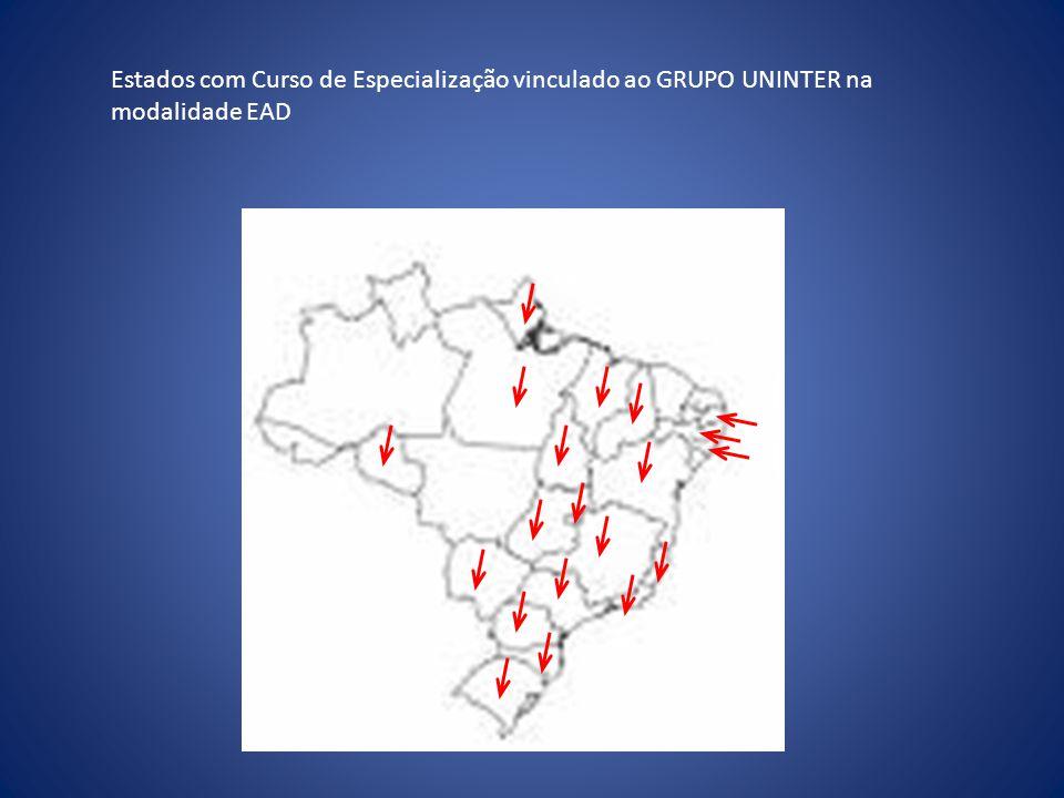 Estados com Curso de Especialização vinculado ao GRUPO UNINTER na modalidade EAD