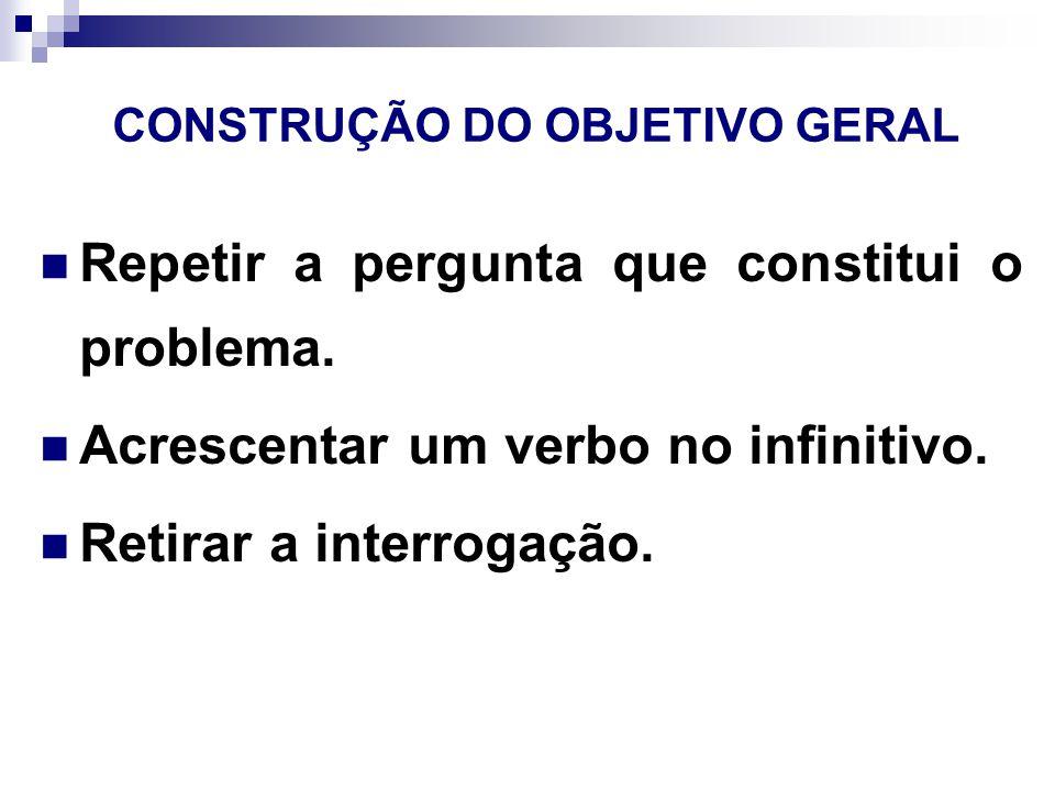CONSTRUÇÃO DO OBJETIVO GERAL