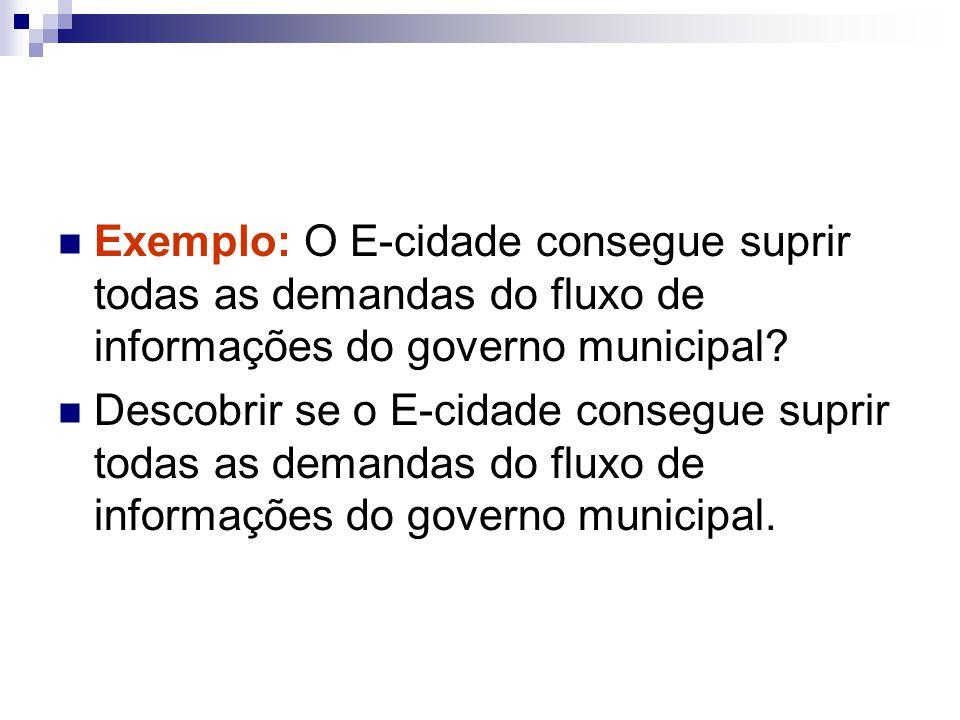 Exemplo: O E-cidade consegue suprir todas as demandas do fluxo de informações do governo municipal