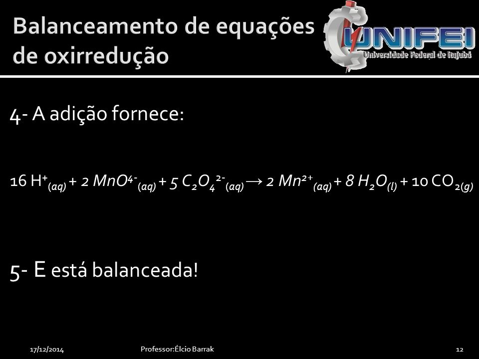 Balanceamento de equações de oxirredução