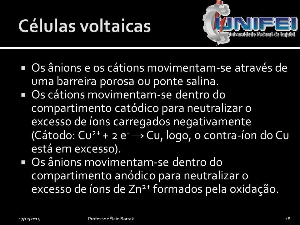 Células voltaicas Os ânions e os cátions movimentam-se através de uma barreira porosa ou ponte salina.