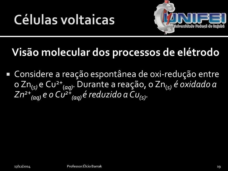 Células voltaicas Visão molecular dos processos de elétrodo