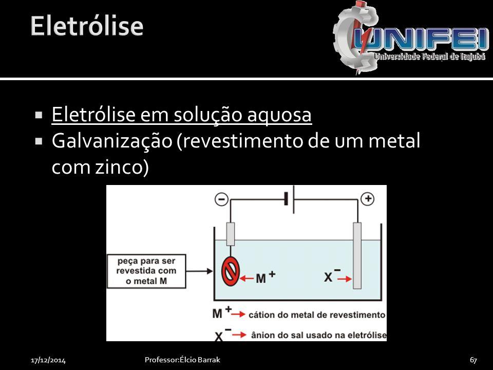 Eletrólise Eletrólise em solução aquosa