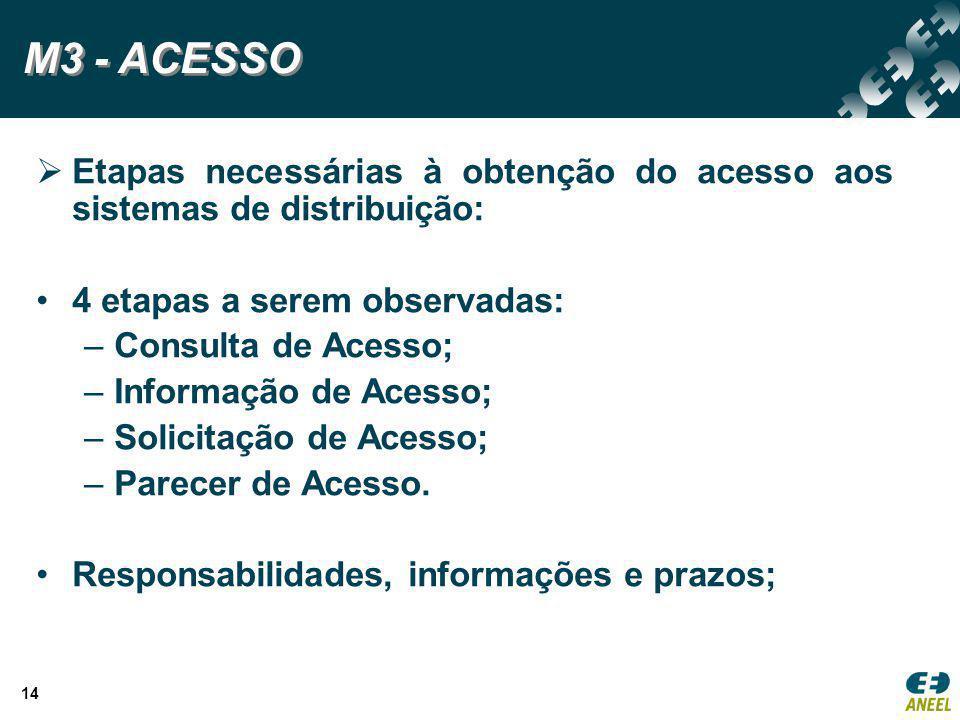 M3 - ACESSO Etapas necessárias à obtenção do acesso aos sistemas de distribuição: 4 etapas a serem observadas: