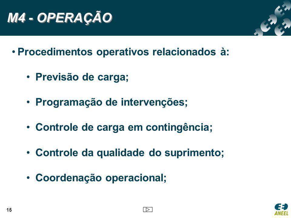 M4 - OPERAÇÃO Procedimentos operativos relacionados à: