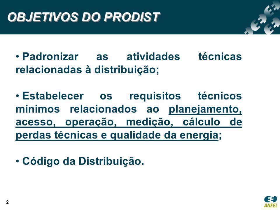 OBJETIVOS DO PRODIST Padronizar as atividades técnicas relacionadas à distribuição;