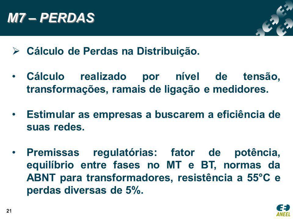 M7 – PERDAS Cálculo de Perdas na Distribuição.