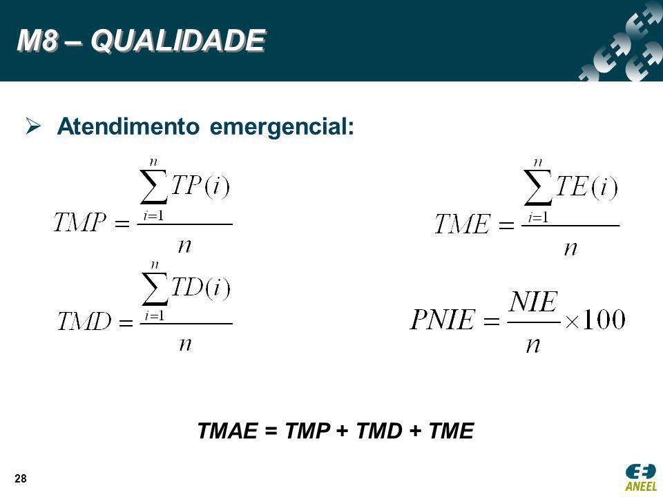 M8 – QUALIDADE Atendimento emergencial: TMAE = TMP + TMD + TME