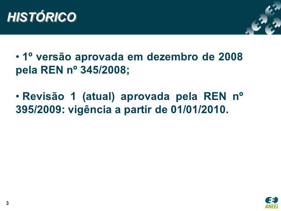 HISTÓRICO 1º versão aprovada em dezembro de 2008 pela REN nº 345/2008;
