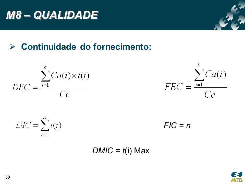 M8 – QUALIDADE Continuidade do fornecimento: FIC = n DMIC = t(i) Max
