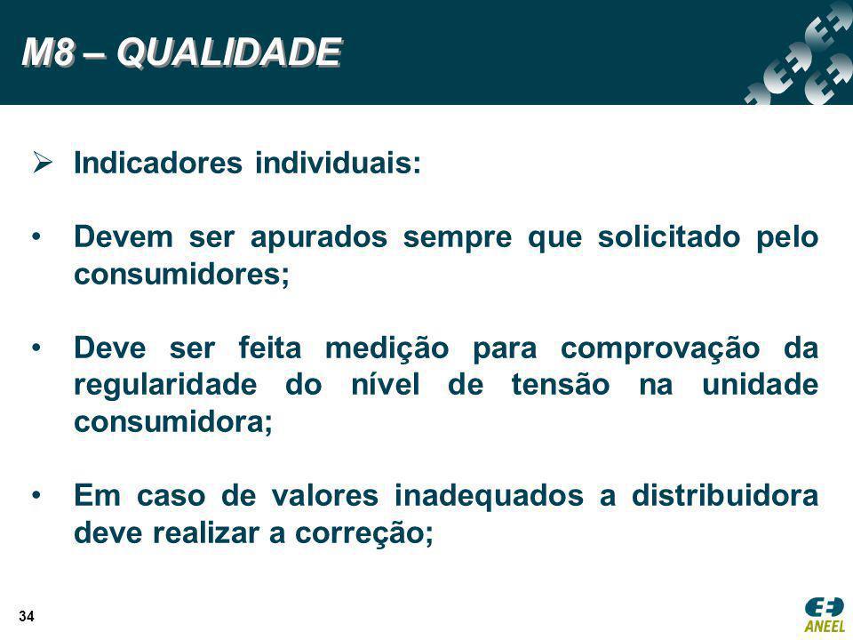 M8 – QUALIDADE Indicadores individuais: