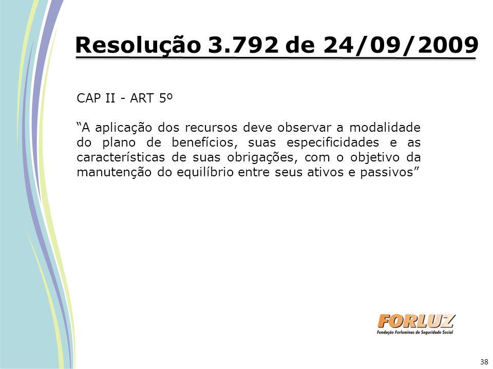 Resolução 3.792 de 24/09/2009 CAP II - ART 5º