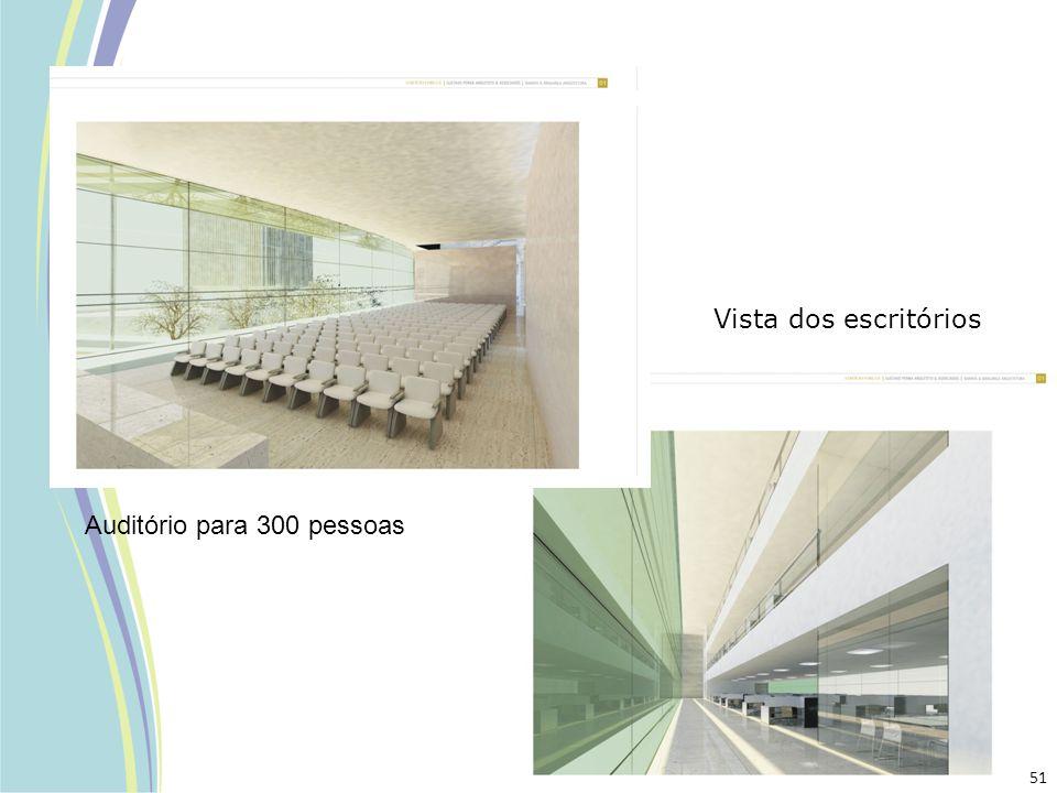 Vista dos escritórios Auditório para 300 pessoas