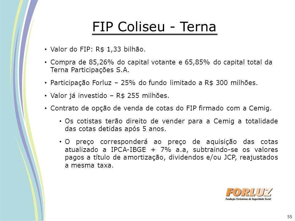 FIP Coliseu - Terna Valor do FIP: R$ 1,33 bilhão.