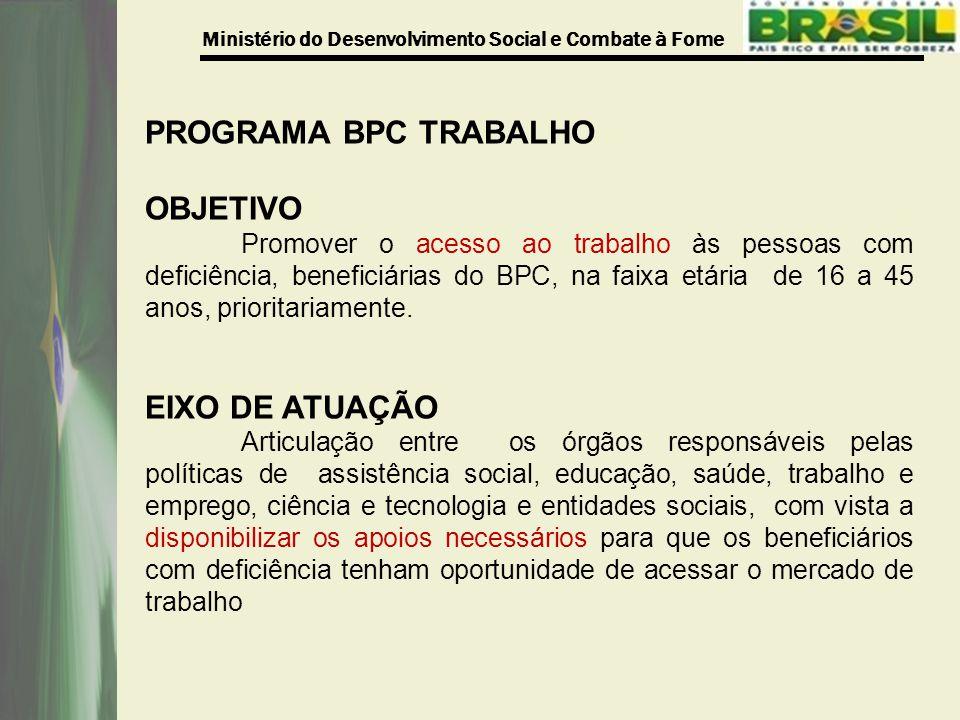 PROGRAMA BPC TRABALHO OBJETIVO EIXO DE ATUAÇÃO