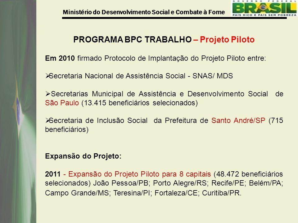 PROGRAMA BPC TRABALHO – Projeto Piloto