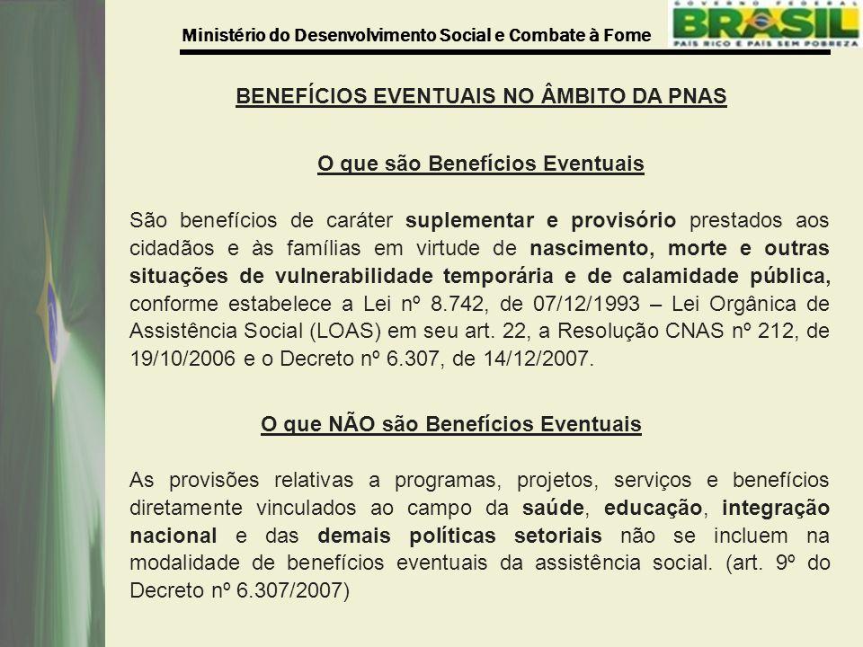 BENEFÍCIOS EVENTUAIS NO ÂMBITO DA PNAS