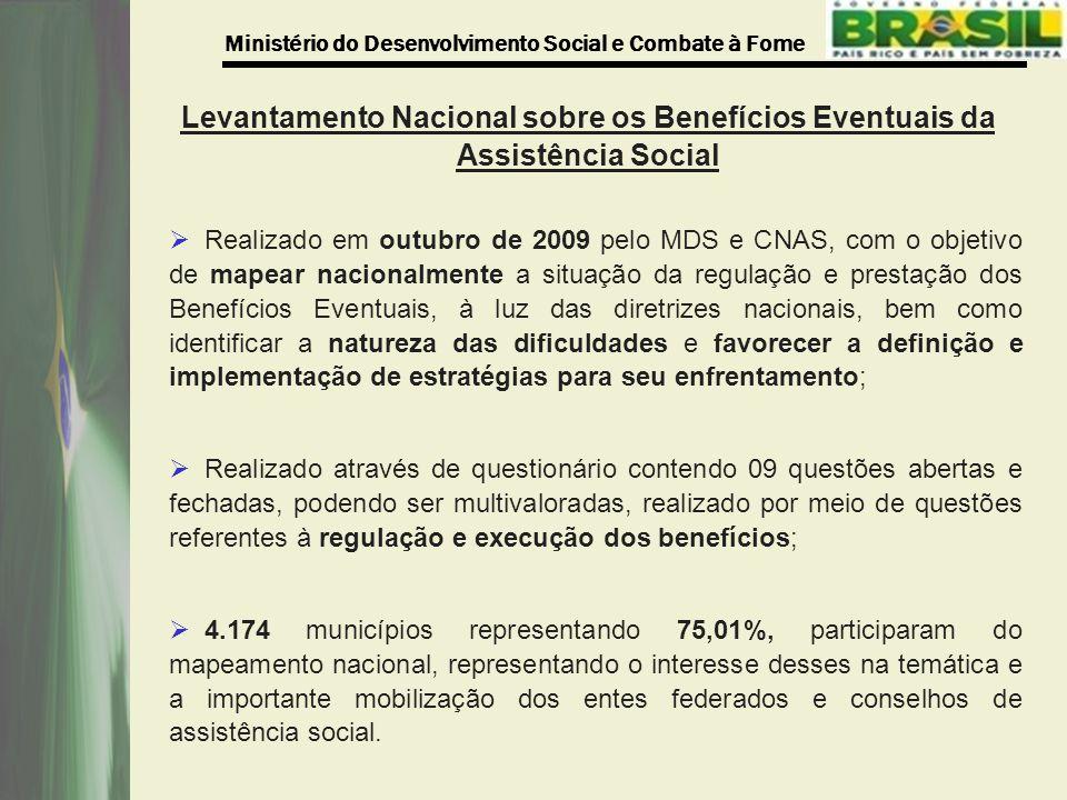 Levantamento Nacional sobre os Benefícios Eventuais da Assistência Social