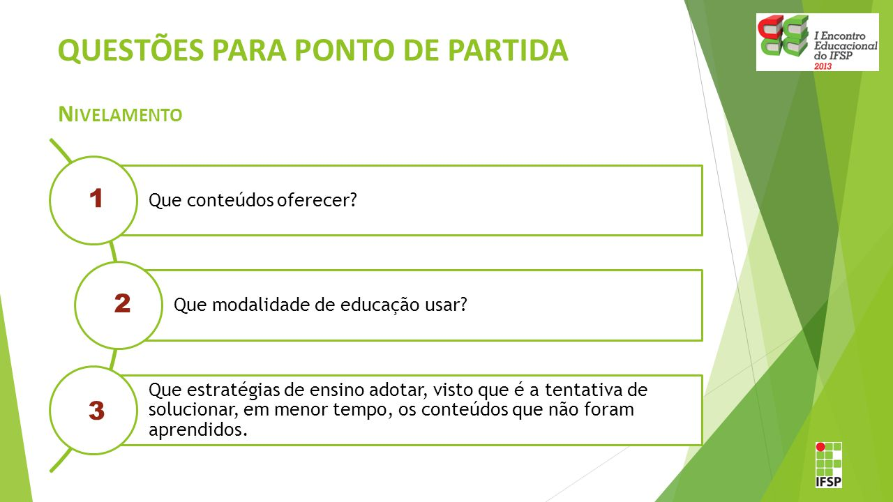 QUESTÕES PARA PONTO DE PARTIDA