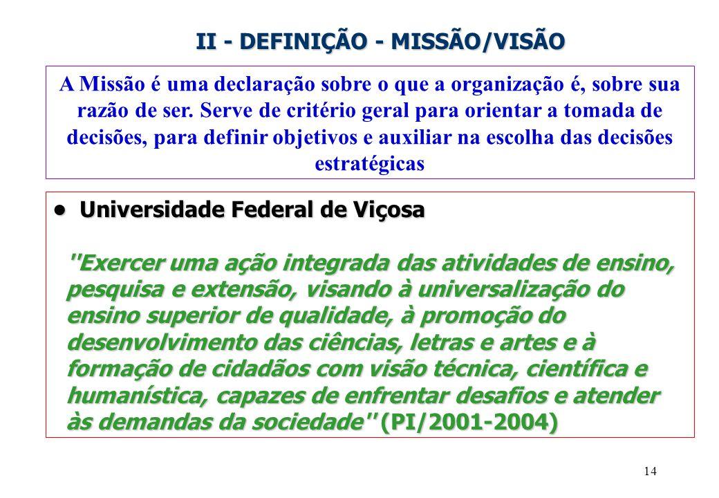 II - DEFINIÇÃO - MISSÃO/VISÃO
