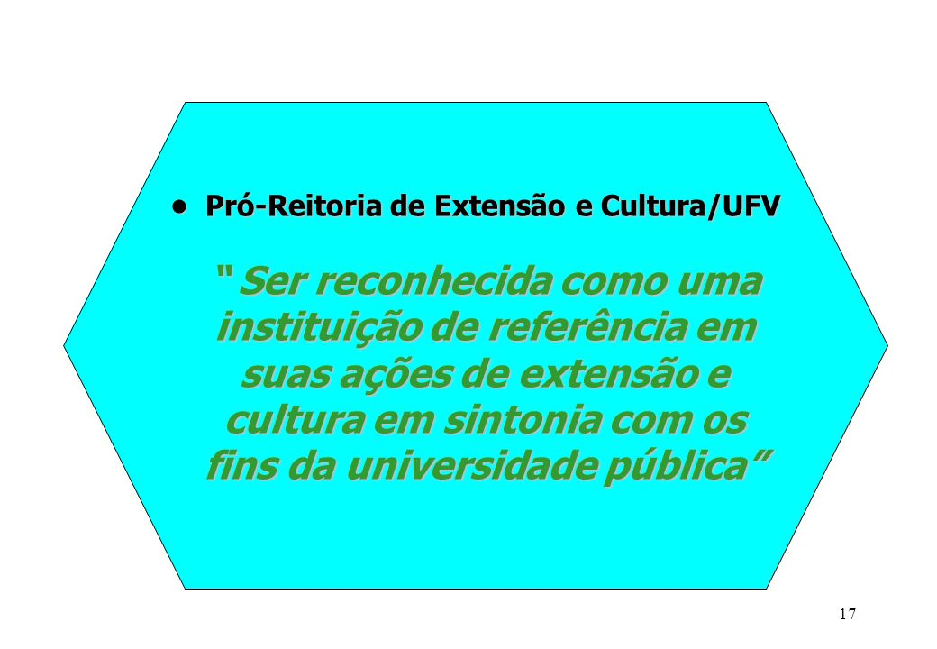 • Pró-Reitoria de Extensão e Cultura/UFV Ser reconhecida como uma instituição de referência em suas ações de extensão e cultura em sintonia com os fins da universidade pública