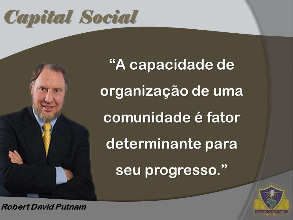 Capital Social A capacidade de organização de uma comunidade é fator determinante para seu progresso.