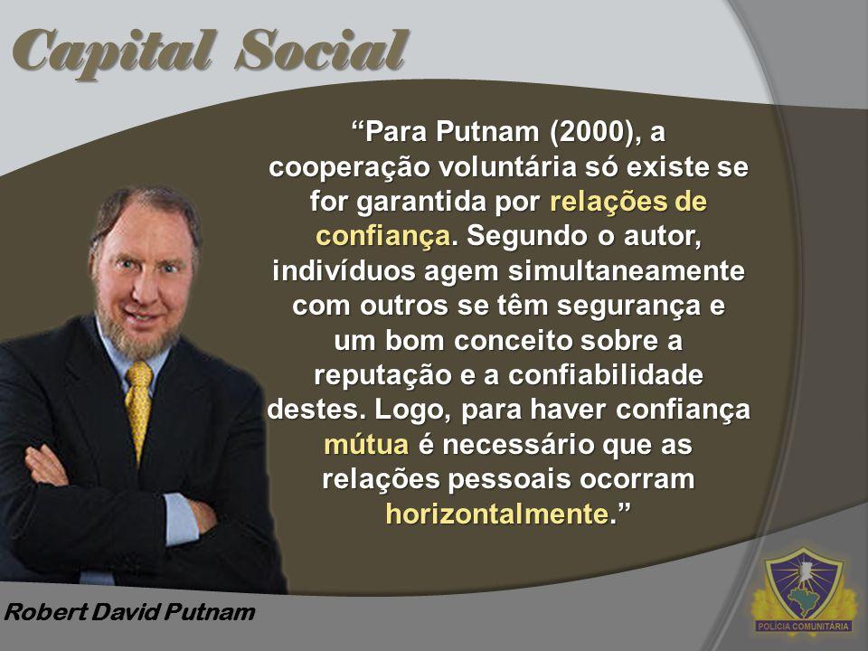 Capital Social Para Putnam (2000), a cooperação voluntária só existe se for garantida por relações de.