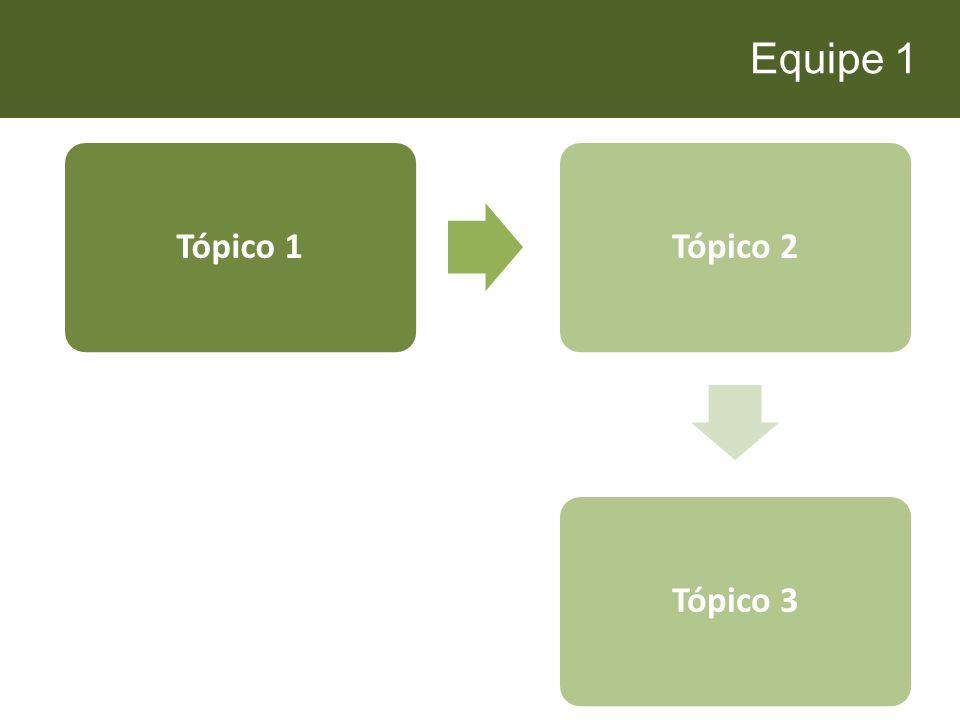 Equipe 1 Tópico 1 Tópico 2 Tópico 3