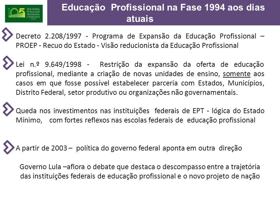 Educação Profissional na Fase 1994 aos dias atuais