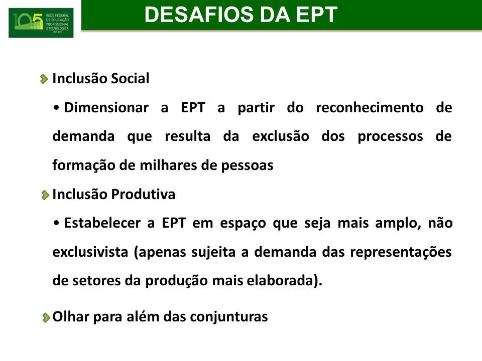 DESAFIOS DA EPT Inclusão Social