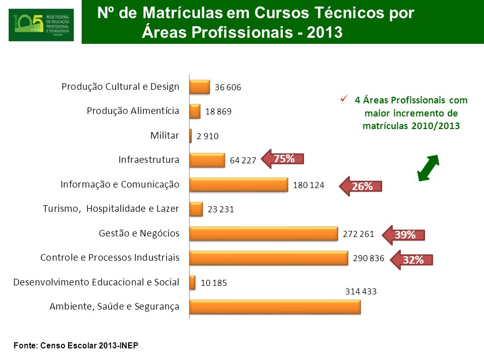 4 Áreas Profissionais com maior incremento de matrículas 2010/2013