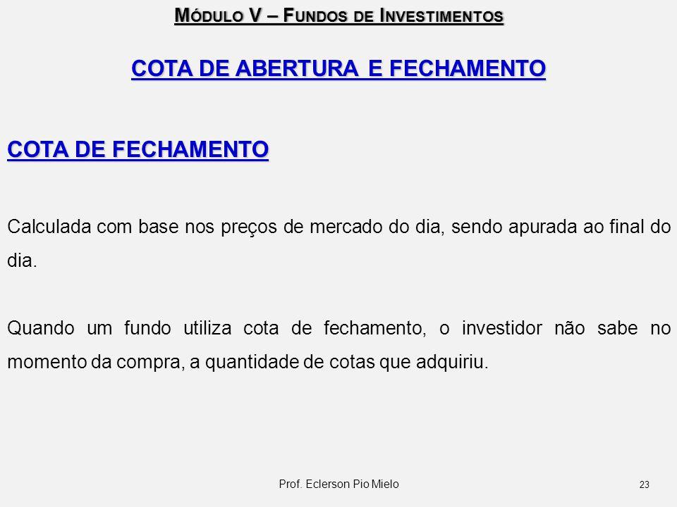 COTA DE ABERTURA E FECHAMENTO