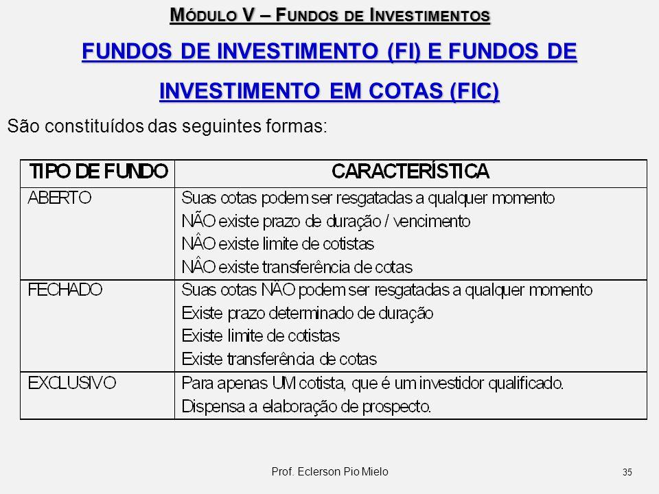 FUNDOS DE INVESTIMENTO (FI) E FUNDOS DE INVESTIMENTO EM COTAS (FIC)
