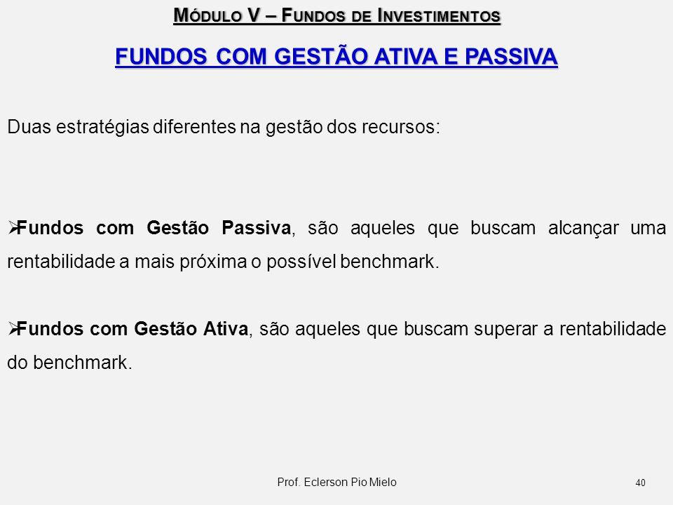 FUNDOS COM GESTÃO ATIVA E PASSIVA