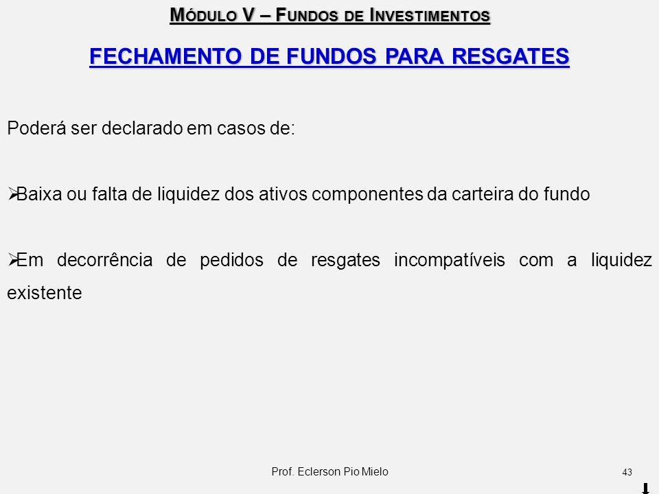 FECHAMENTO DE FUNDOS PARA RESGATES