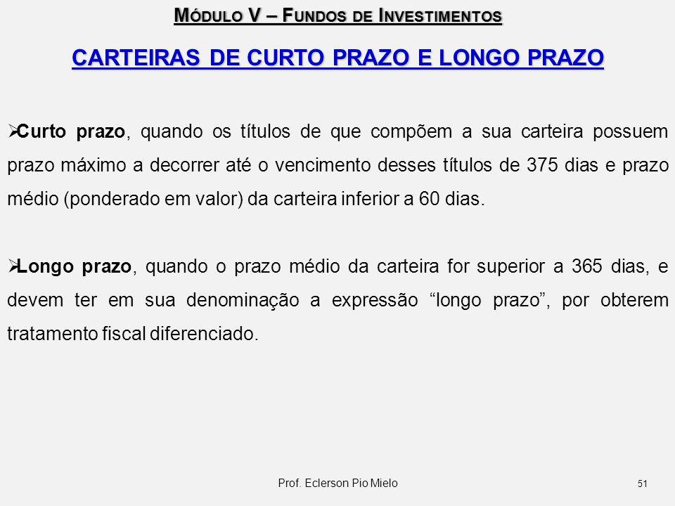 CARTEIRAS DE CURTO PRAZO E LONGO PRAZO