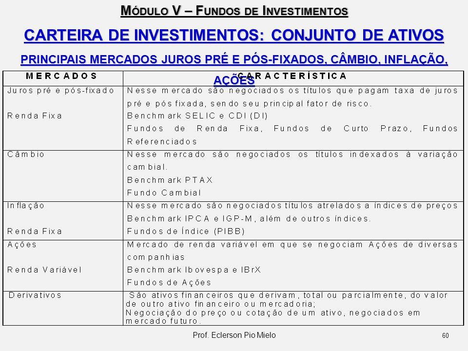 CARTEIRA DE INVESTIMENTOS: CONJUNTO DE ATIVOS