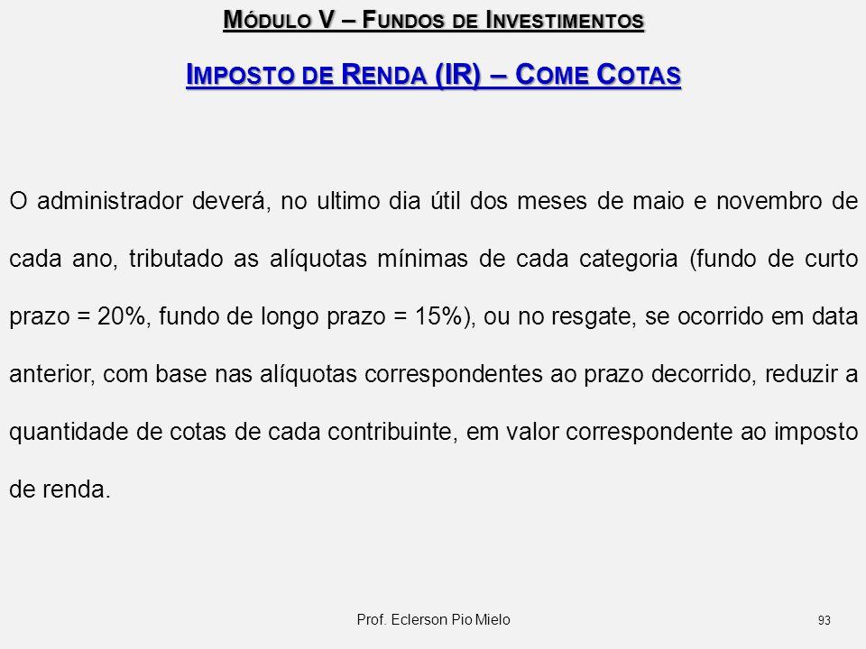 Imposto de Renda (IR) – Come Cotas