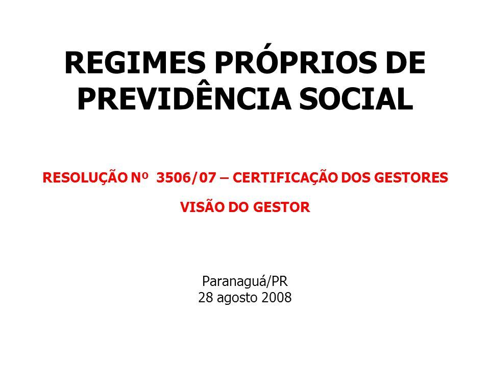 REGIMES PRÓPRIOS DE PREVIDÊNCIA SOCIAL