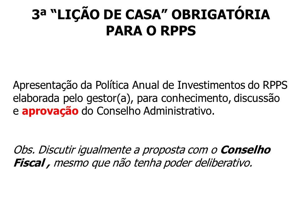 3ª LIÇÃO DE CASA OBRIGATÓRIA PARA O RPPS