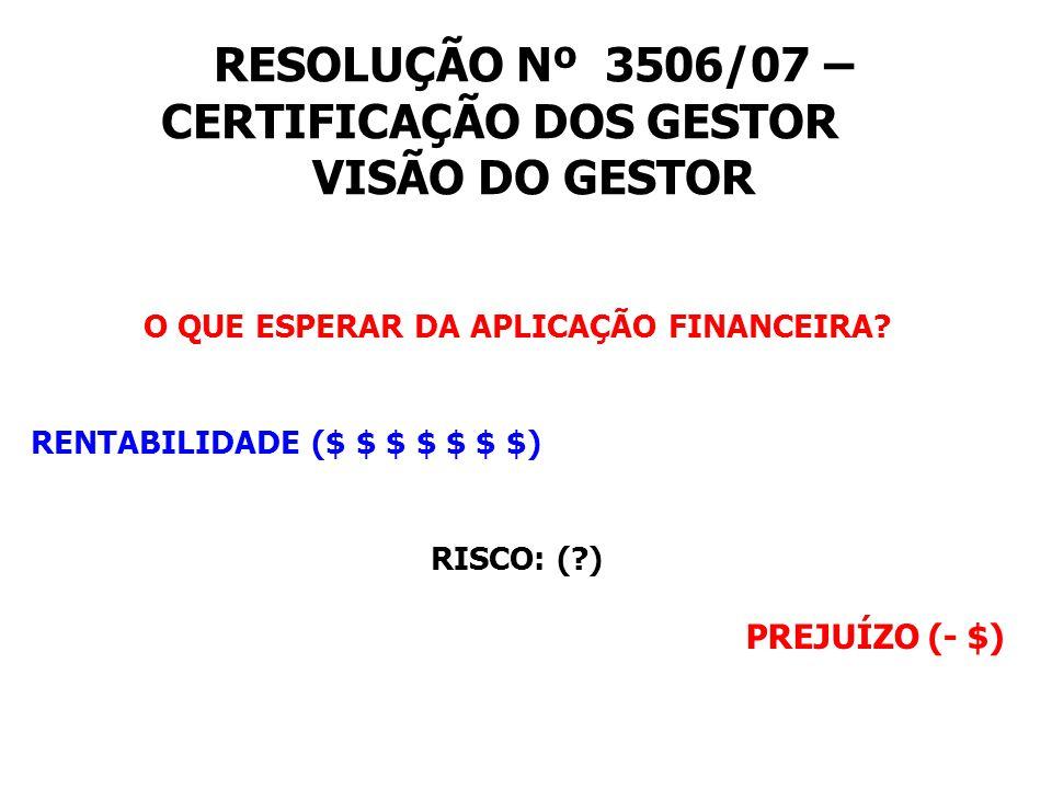 RESOLUÇÃO Nº 3506/07 – CERTIFICAÇÃO DOS GESTOR VISÃO DO GESTOR