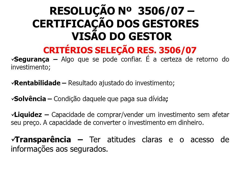 RESOLUÇÃO Nº 3506/07 – CERTIFICAÇÃO DOS GESTORES VISÃO DO GESTOR