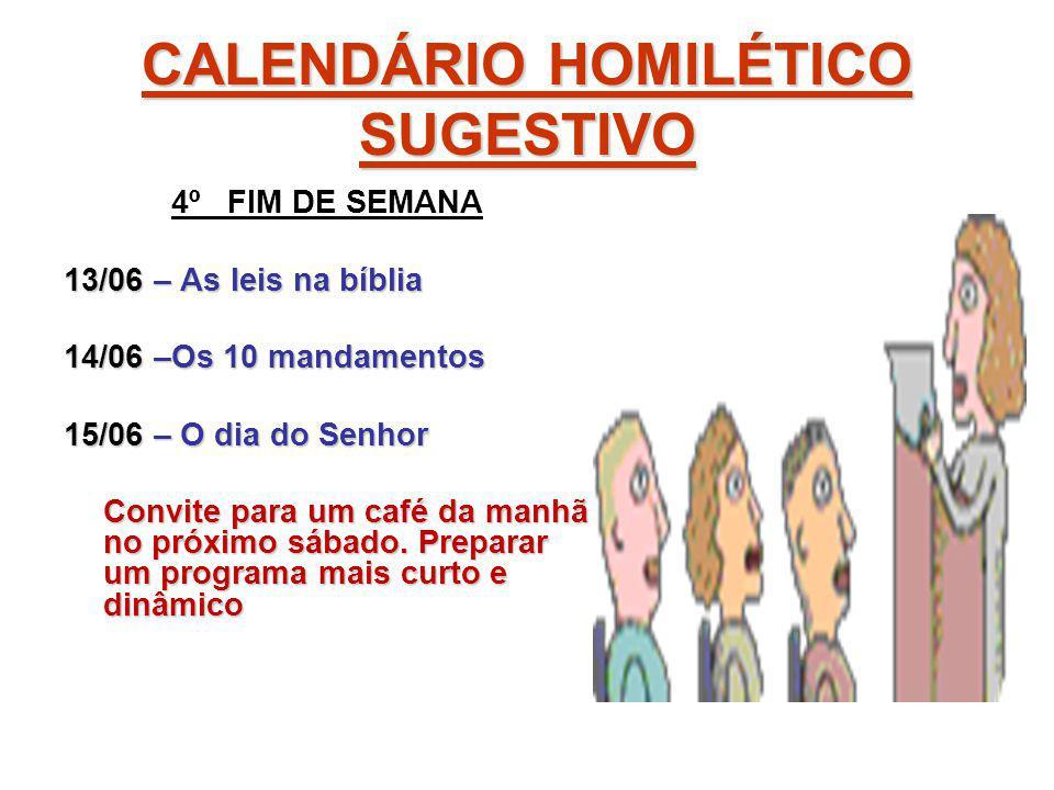 CALENDÁRIO HOMILÉTICO SUGESTIVO