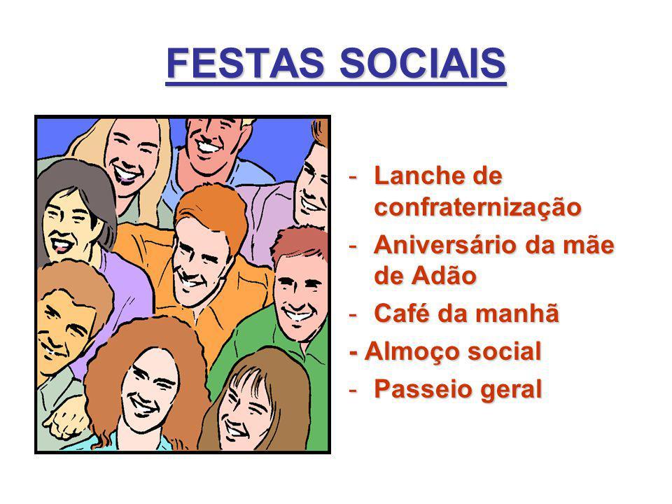 FESTAS SOCIAIS Lanche de confraternização Aniversário da mãe de Adão