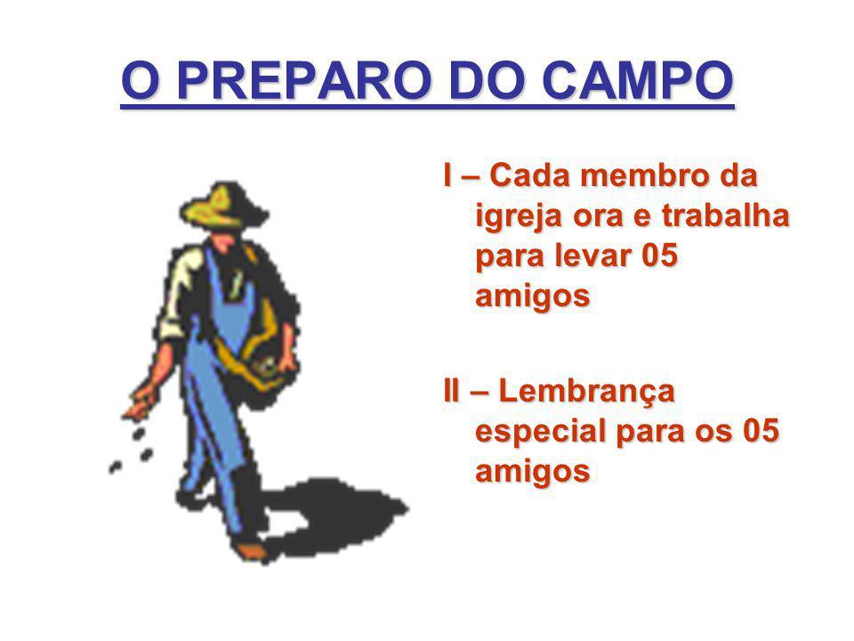 O PREPARO DO CAMPO I – Cada membro da igreja ora e trabalha para levar 05 amigos.