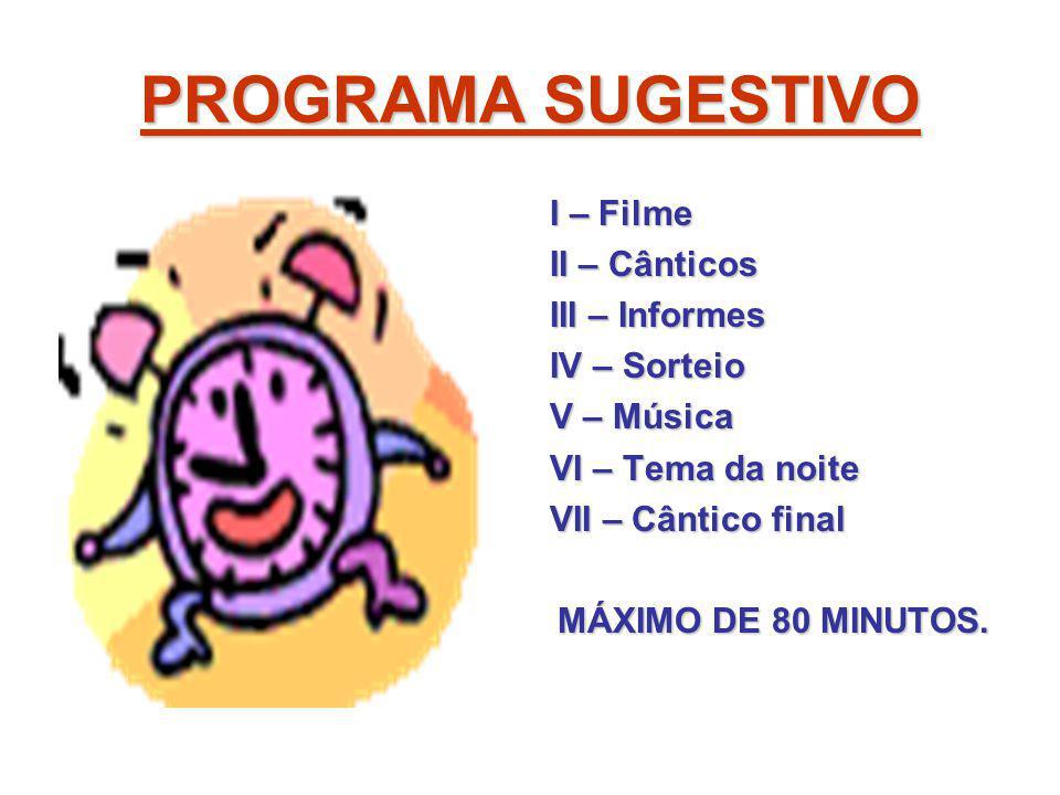 PROGRAMA SUGESTIVO I – Filme II – Cânticos III – Informes IV – Sorteio